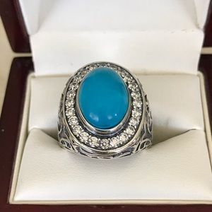 Jewelry - 9.15CT TURQUOISE & TOPAZ STERLING SILVER RING